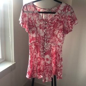 LF Rumor Boutique Floral Romper Pearl Buttons